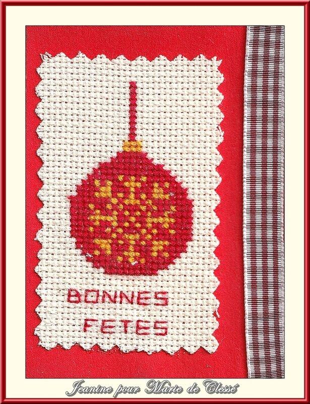 Échange ATC (Décembre) Chez Miou (Boules de Noël) Jeanine pour Marie de Clessé1