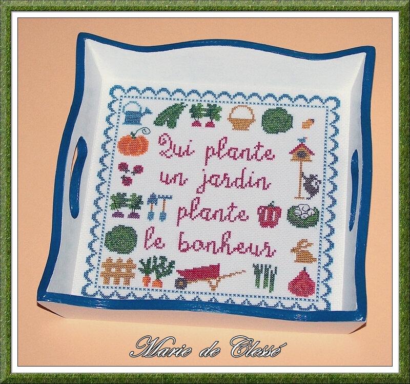 Broderie (Qui plante un jardin plante le bonheur) Grille de Manu Créa 16,5x16,5cm Avant résine finition 3