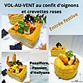 Vol au vent au confit d'oignons, crevettes roses + ail noir + capsaïsine et mayonnaise