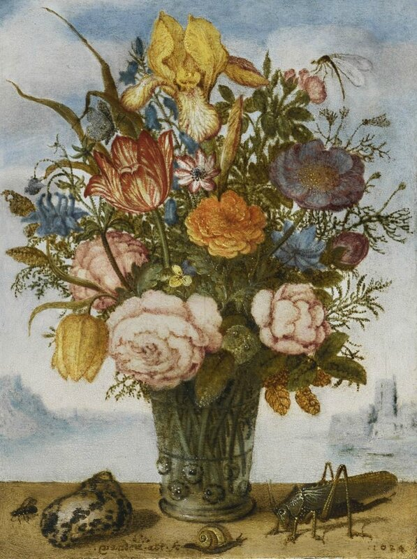 Balthasar van der Ast (Middelburg 159394 - 1657 Delft), Flower bouquet on a ledge, together with a shell and a grasshopper, a panoramic landscape beyond