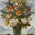Balthasar van der ast, flower bouquet on a ledge, together with a shell and a grasshopper, a panoramic landscape beyond
