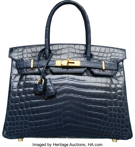 Hermès 30cm Shiny Blue Abysse Nilo Crocodile Birkin Bag with Gold Hardware b40182457c06a