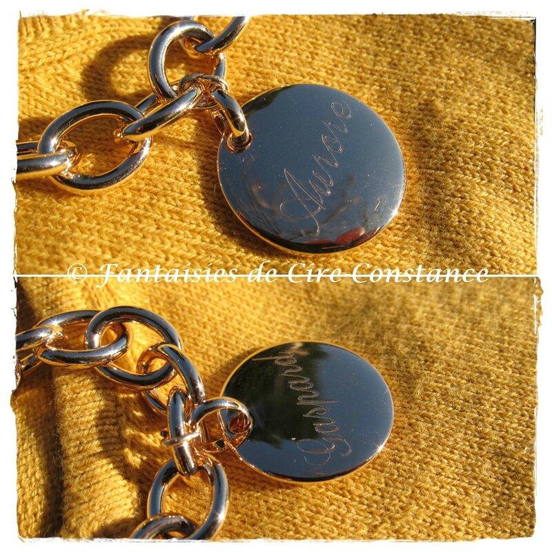 Bracelet plaqué or grosses mailles gravure joaillerie-1