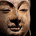 A rare limestone head of avalokiteshvara, tang dynasty, 7th-10th century