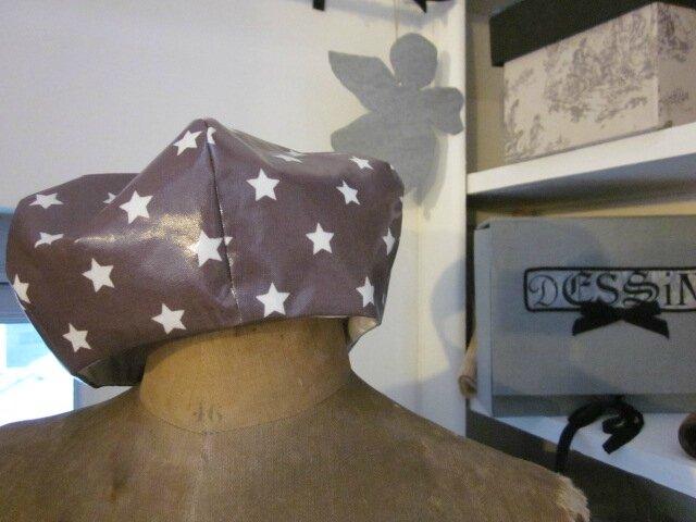 Chapeau de pluie AGLAE en coton enduit à étoile blanche (1)