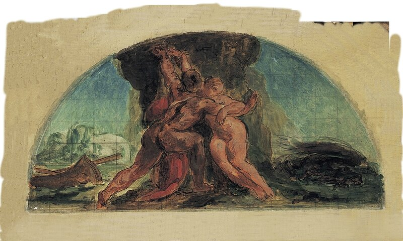 Eugène Delacroix, 'Hercules rescuing Hesione, study for the lunette in the Salon de la Paix, Hôtel de Ville', 1852