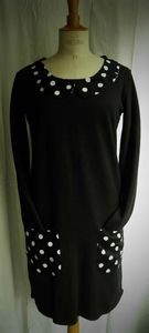 robe sweat col claudine t2 gros pois