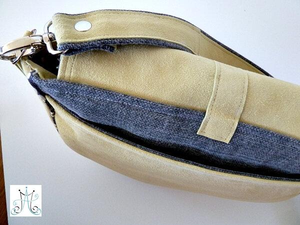 1 - MAG ATTACK - petite besace Villa - cuir jaune et tissu gris (8)