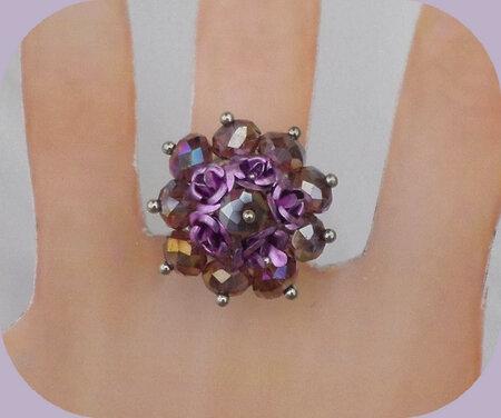 Bague Fleurs Métal Violet Perles Crystal Facettées Améthyst Anneau Métal ArgentéJPG