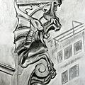Ornement sculpté en forme de chimère (dessin 50 x 60)