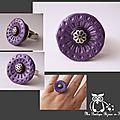 Bague violette nacrée jolie texture