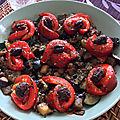 Courgettes et aubergines rissolées, aux poivrons marinés