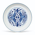 A blue and white 'phoenix' dish, daoguang seal mark inunderglaze blue and of the period (1821-1850)