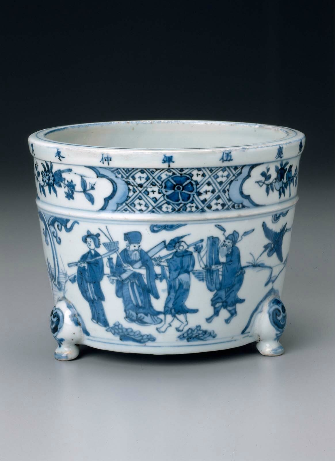 Incense burner with decoration of the Eight Immortals venerating the god of longevity, Ming dynasty, Longqing period, dated 1571