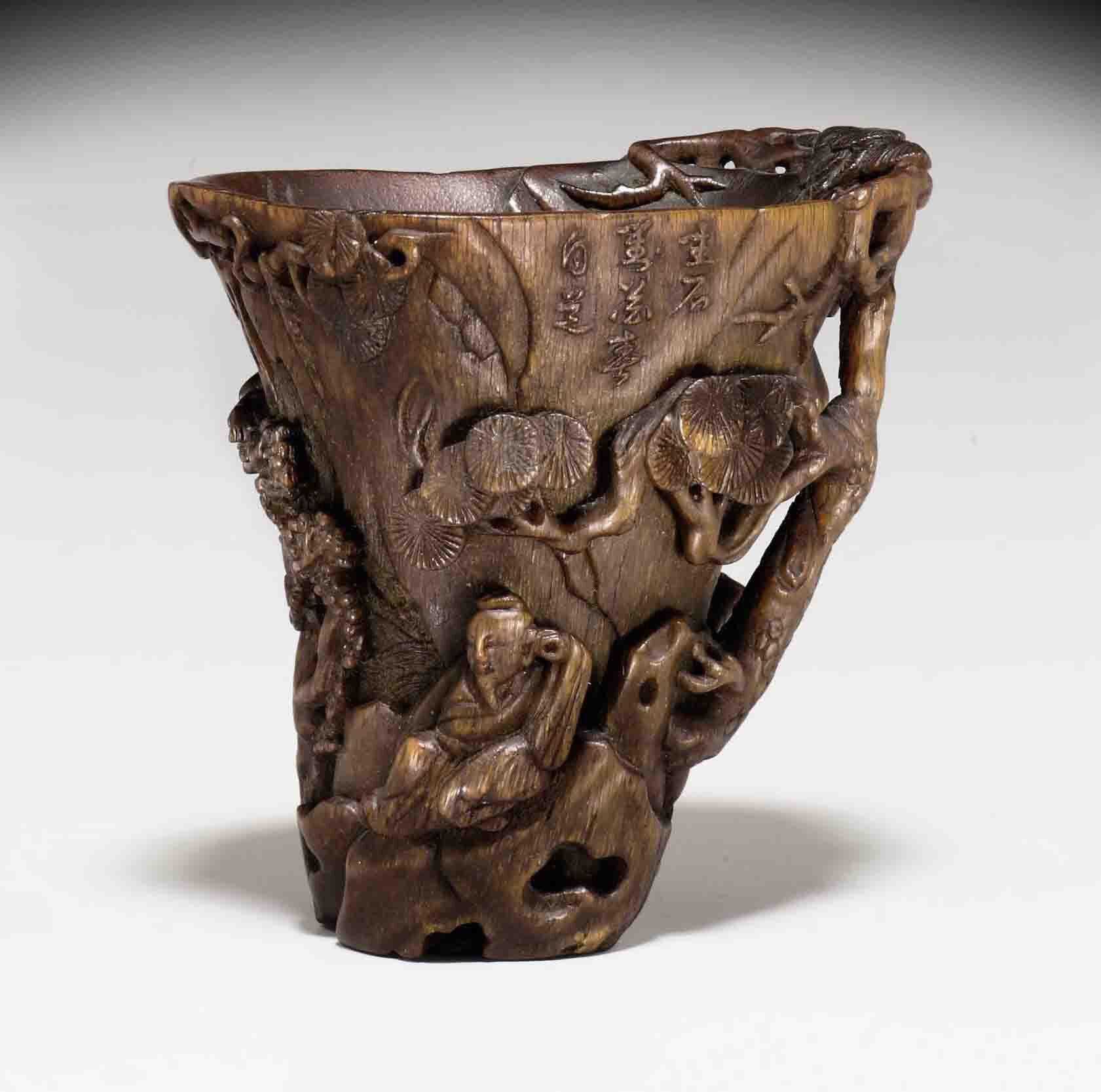 An unusual rhinoceros horn cup, 17th-18th century