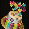 Gâteau de fête étoile arc en ciel stars cake