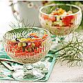 Salade de concombre, tomate, menthe, truite fumée....