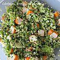 Céréales, brocoli et surimi