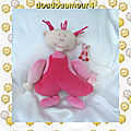 Doudou Peluche Poupée Fille Rose Chien Attaché Happy Horse