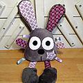 Doudou lapin pouêt pouêt gris violet
