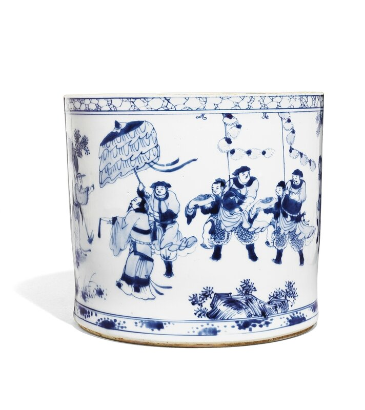 A Blue and White Brushpot, Bitong, Qing Dynasty, Early Kangxi Period (1662-1722)