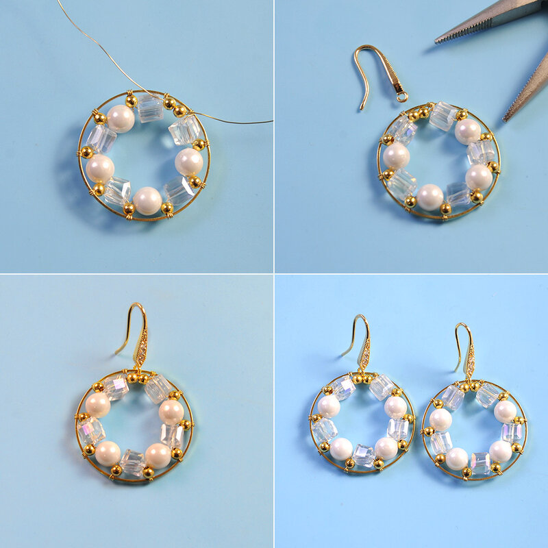 PandaHall Tutorial on Delicate Glass Beads Wire Wrapped Earrings-3
