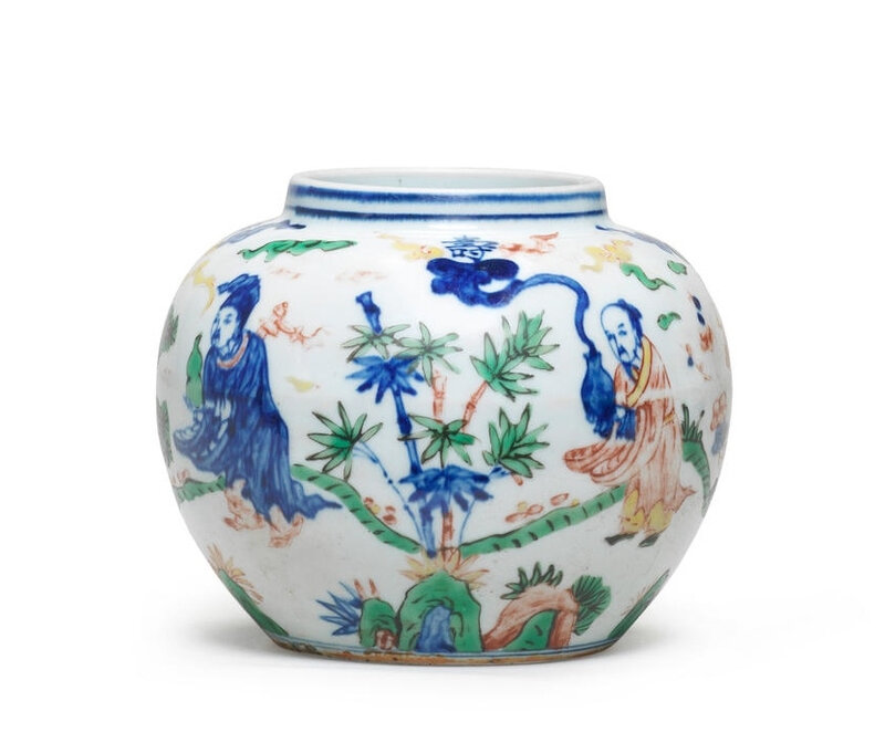 A wucai 'Immortals' jar, Wanli six-character mark and of the period (1573-1620)