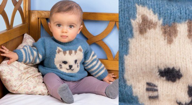 Le-pull-bleu-et-ray-layette-chat-Phildar-615x335