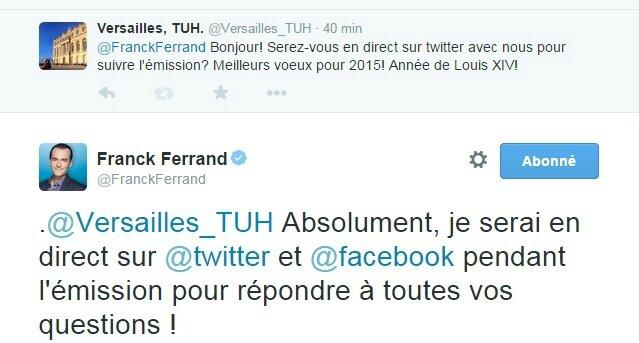 Franck Ferrand en direct de twitter ce soir lundi 05 janvier 2015 sur France 3, 20h45 - L'ombre d'un doute - Louis XV