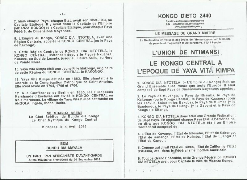 LE KONGO CENTRAL A L'EPOQUE DE YAYA VITA KIMPA a