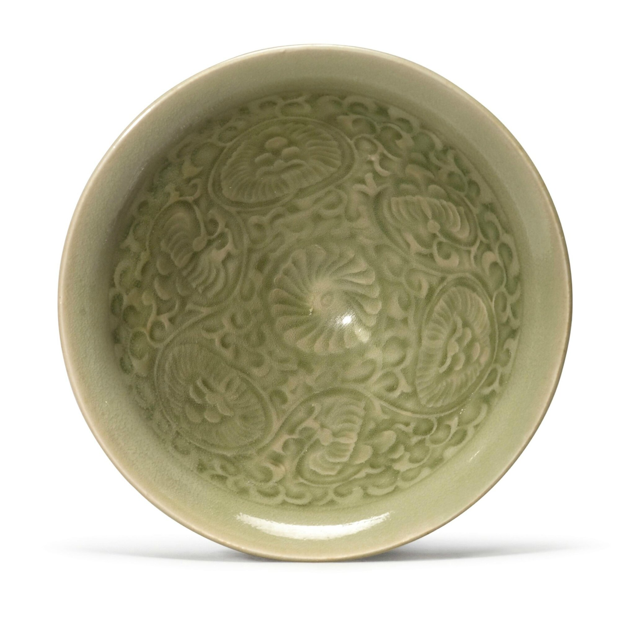A small molded 'Yaozhou' celadon-glazed conical bowl, Northern Song dynasty (960-1127)