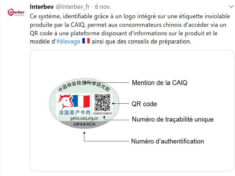 étiquette viande française en Chine