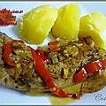 Cuisses de poulet aux poivrons rouges