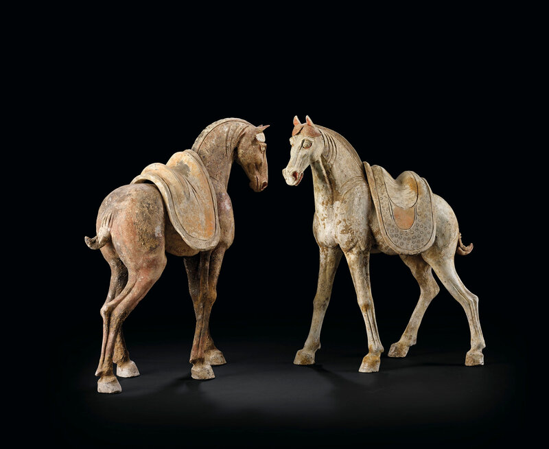 Two polychrome pottery horses, Tang dynasty (618-907)