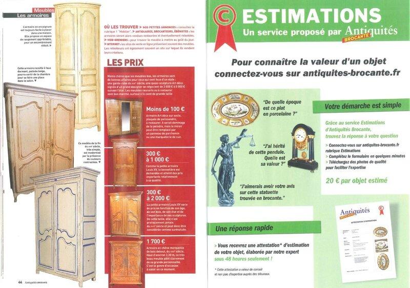 article cottage et patine antiquités brocante janvier 2014 pages 9 et 10