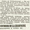 1913 27 avril : nouvelles du vignoble
