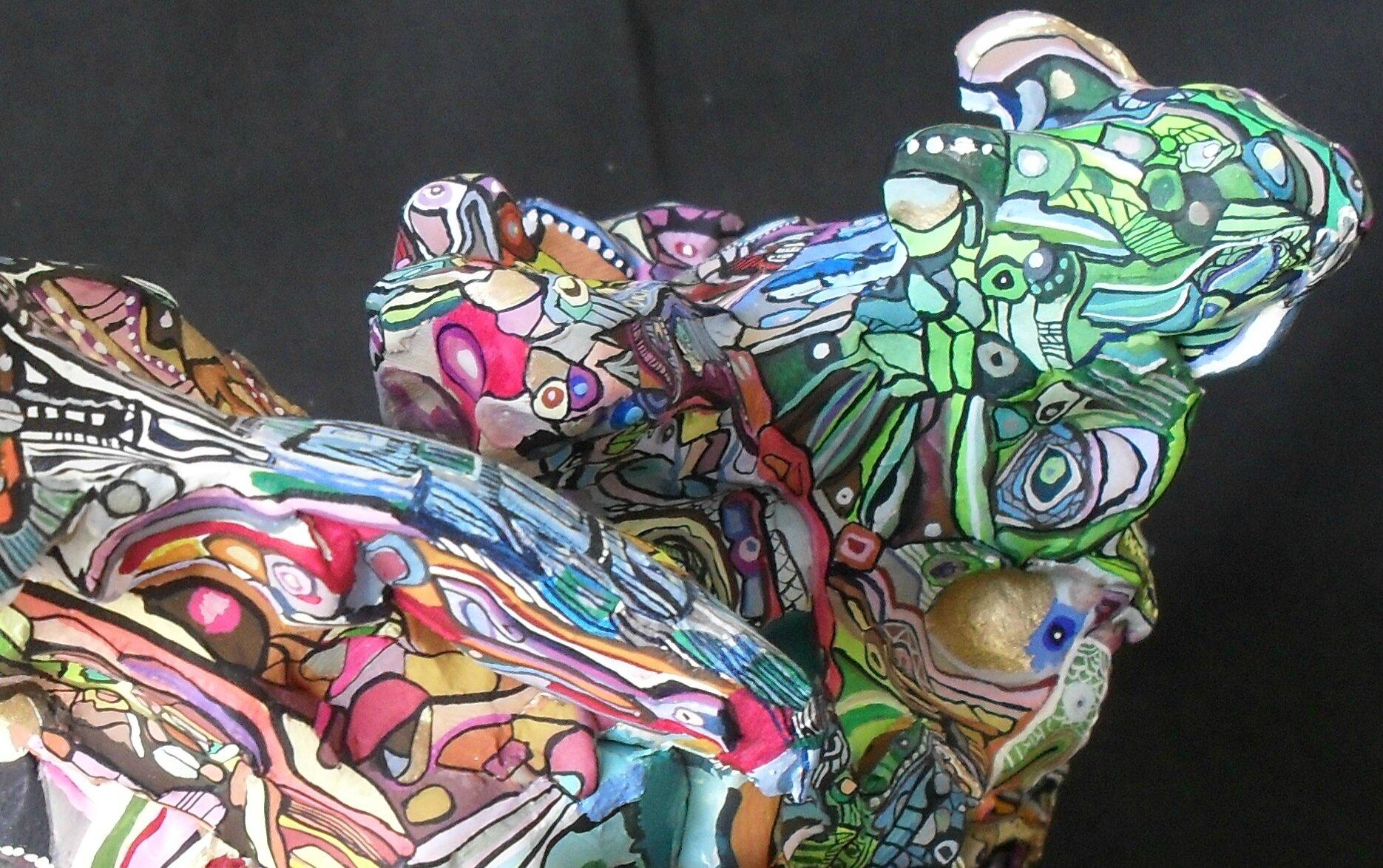 Hervé THAREL - SCHMIMBLOCK'S chevo 2011 - 30 cmx 23 cm x 18,5 cm gouache T7 sur argile (détail3)