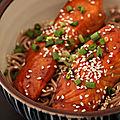 Nouilles soba et saumon teriyaki