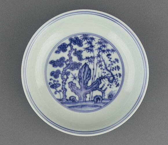 Dish, 1465-1487, Ming dynasty, Chenghua reign. Porcelain with cobalt under colorless glaze. H: 4.3 W: 20.1 cm, Jingdezhen, China. Purchase F1951.10. Freer/Sackler © 2014 Smithsonian Institution