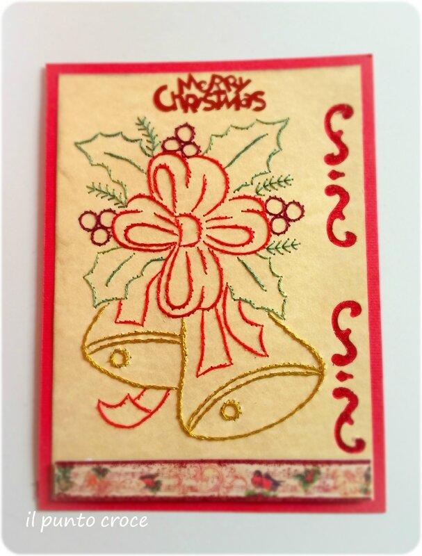 Carte brodè - merry christmas - il punto croce
