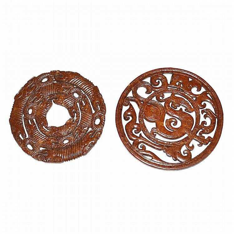 Two Archaistic Finely Carved Jade Disc Bi, Tang Dynasty1