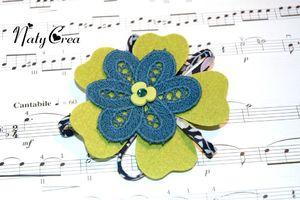 Broche fleur verte feutrine 1