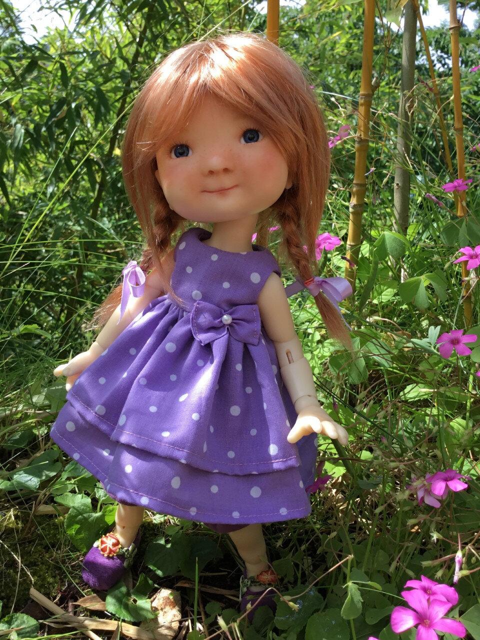 Robe mauve à pois et pantacourt violet, pour Meadow,plus disponible, 15 € et 2,50