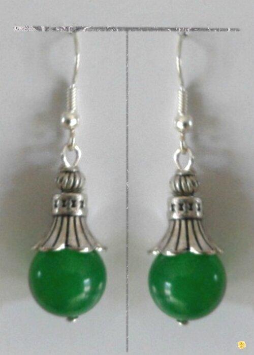 Boucles d'Oreilles StyleTibétain Salka Perle Jade Vert Argent du Tibet