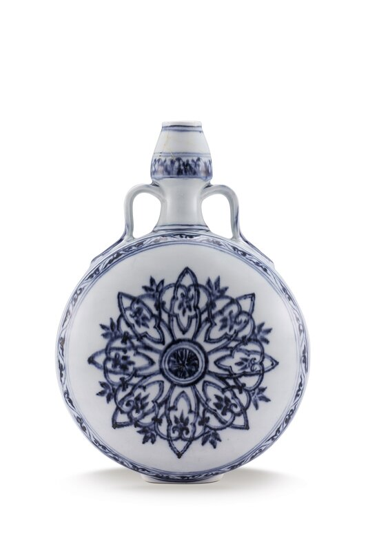 Lot 651_A BLUE AND WHITE MOONFLASK, BIANPING, MING DYNASTY, YONGLE PERIOD