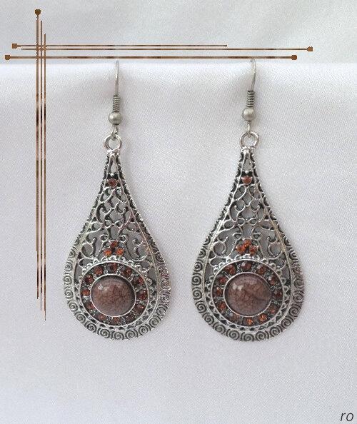Boucles D'oreilles Style Tibétain Flamenco Perle Et Strass Marron Argent du Tibet