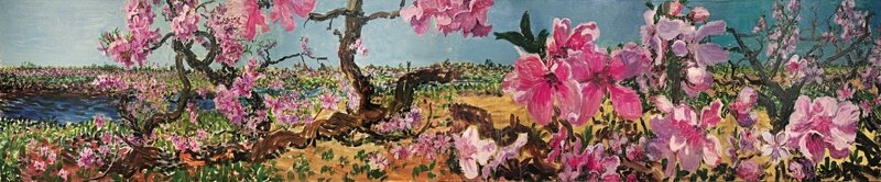 Zhou Chunya, Peach Blossom in the Spring Once Again (diptych), 2013