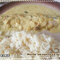Merlu au curry/creme fraiche et son riz (hake fillets with curry/heavy cream and rice)