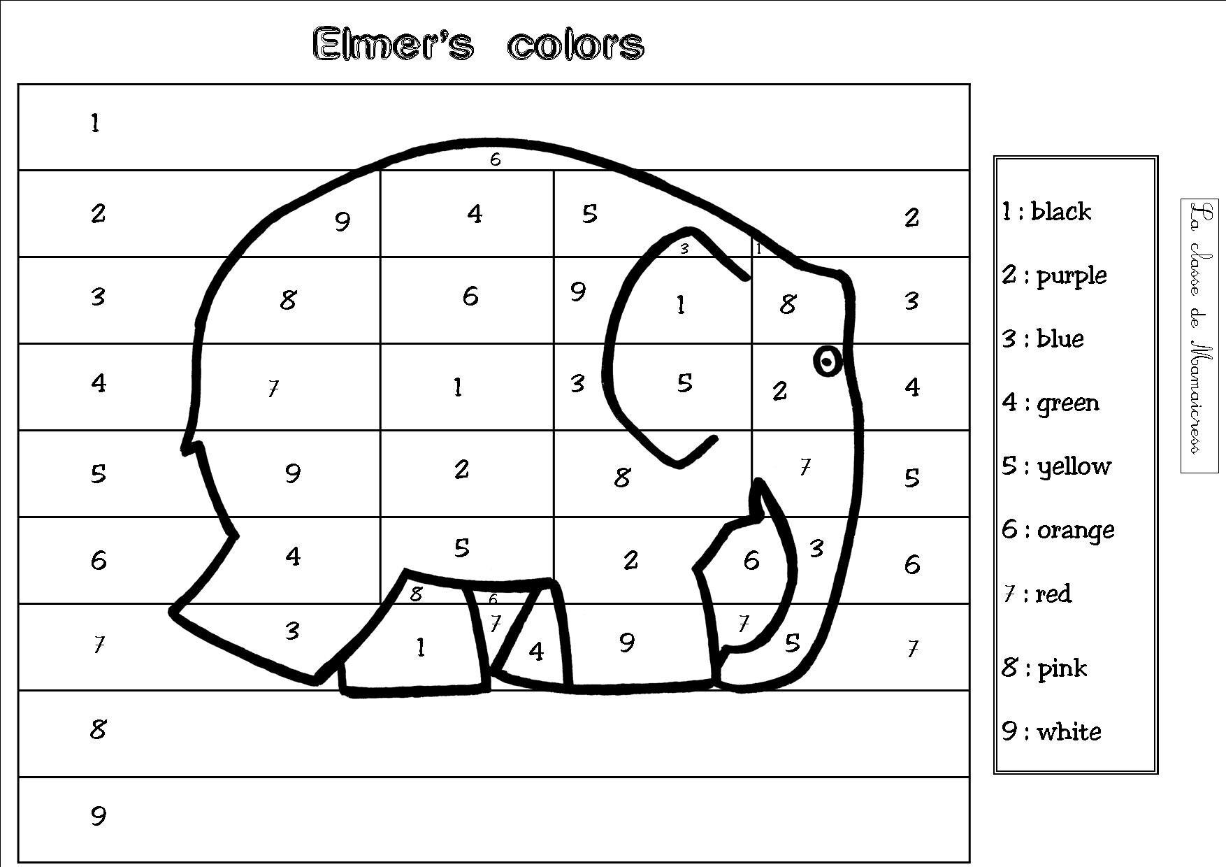 Anglais les couleurs la classe de mamaicress - Coloriage magique nombres ...