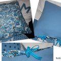 coussin laine et chintz bleu